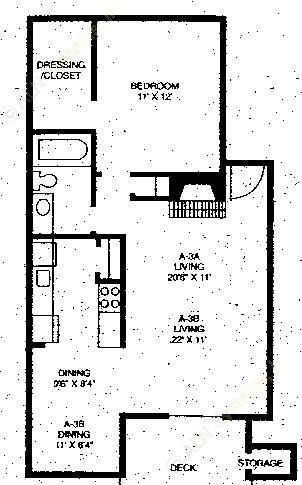 674 sq. ft. A3A floor plan
