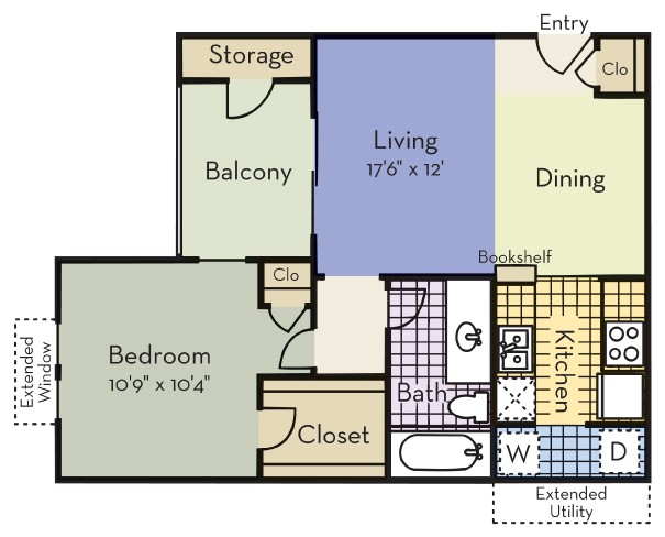 604 sq. ft. Oxford floor plan