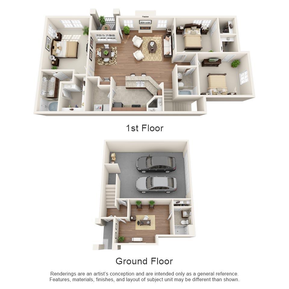 1,613 sq. ft. Merlot floor plan