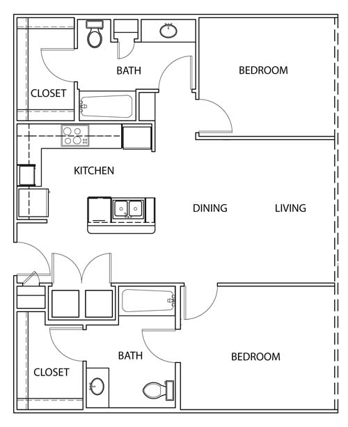 1,051 sq. ft. B1 floor plan