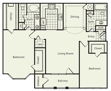 1,272 sq. ft. E floor plan