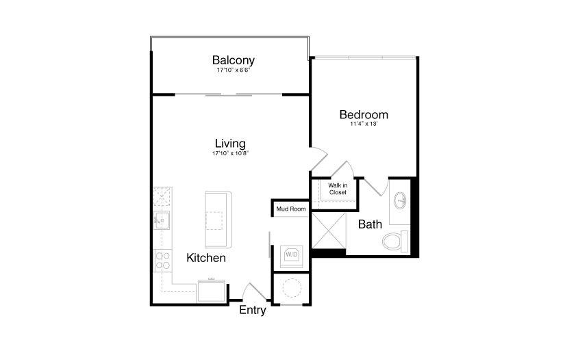 718 sq. ft. A4 floor plan