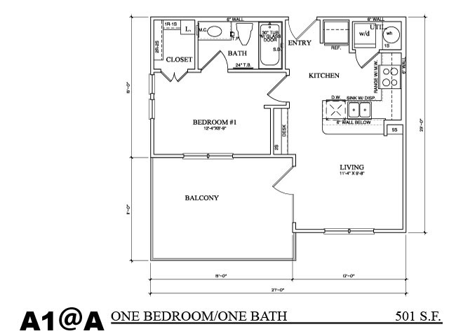 503 sq. ft. A1A floor plan