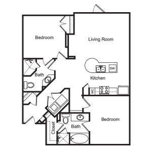 1,025 sq. ft. Wisteria floor plan