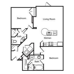 1,025 sq. ft. Wisteria floor plan