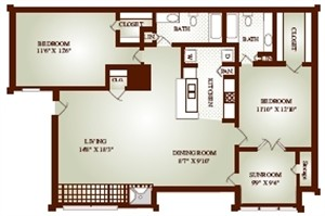 1,102 sq. ft. 22BS floor plan