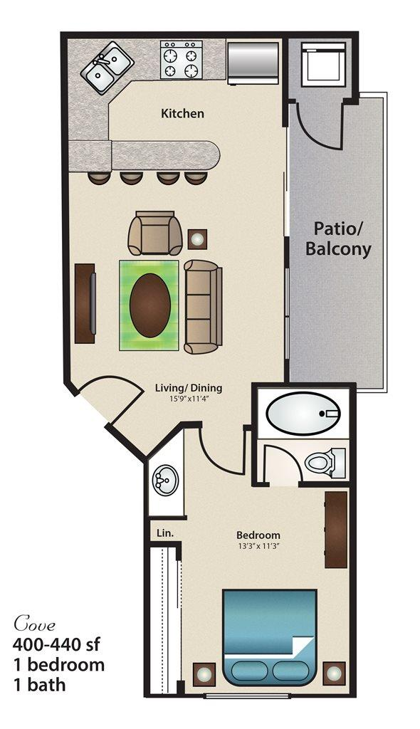 440 sq. ft. Cove floor plan