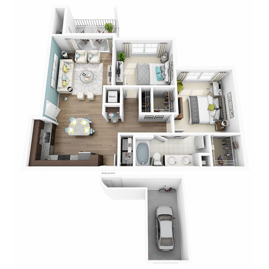 953 sq. ft. Enchant w/Garage floor plan
