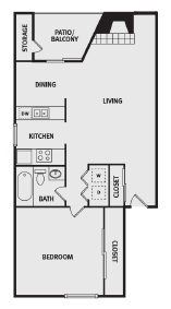 732 sq. ft. AA floor plan