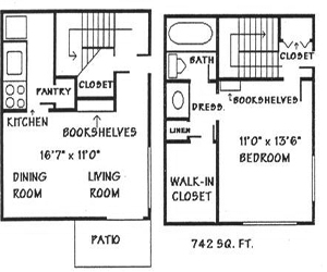 742 sq. ft. A5 floor plan