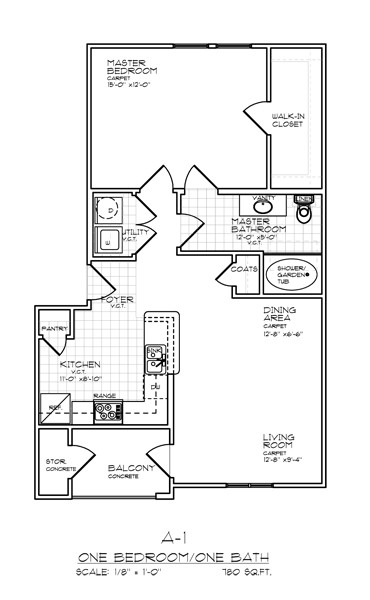 780 sq. ft. A1 FLAT 50% floor plan