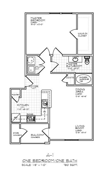 780 sq. ft. A1 FLAT 50% floor plan