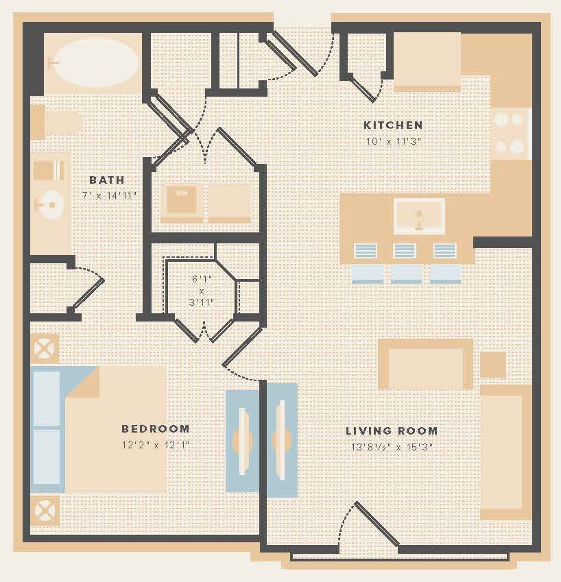 676 sq. ft. A6 floor plan