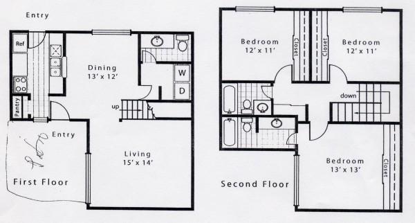 1,419 sq. ft. C1 floor plan