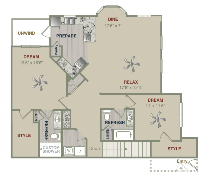 1,436 sq. ft. B2UG floor plan