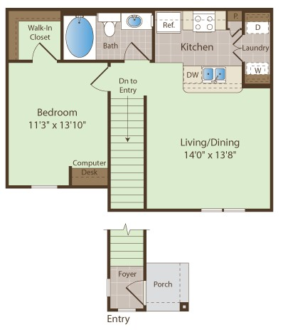 697 sq. ft. JOHNSON floor plan