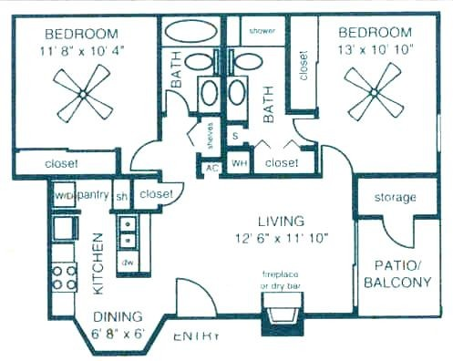 875 sq. ft. C1 floor plan