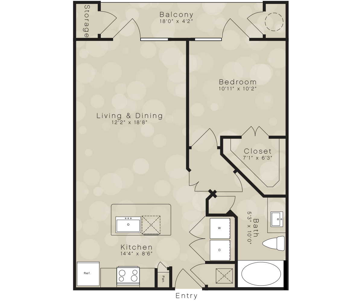 672 sq. ft. A4A floor plan