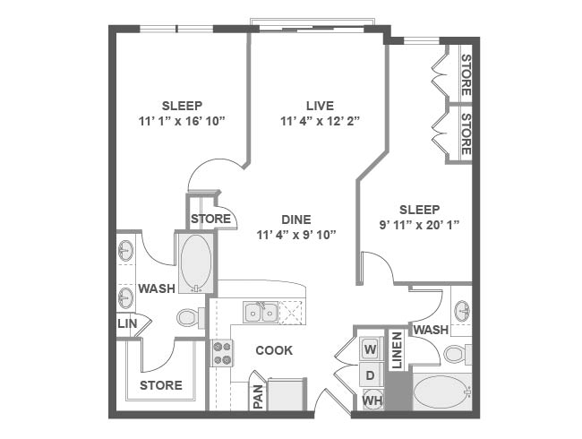 1,027 sq. ft. C4 floor plan