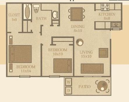 850 sq. ft. Elm floor plan