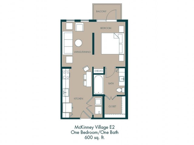 600 sq. ft. E2 floor plan