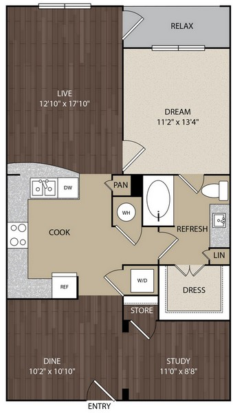 958 sq. ft. A9 floor plan