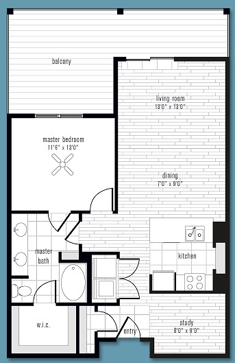 905 sq. ft. to 1,175 sq. ft. Q floor plan