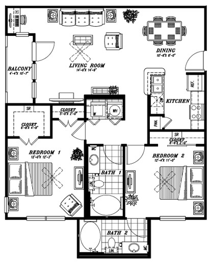 1,062 sq. ft. B1B floor plan