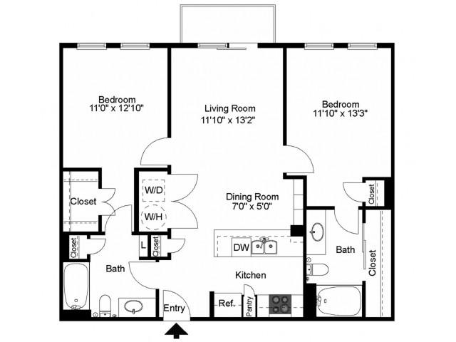 1,015 sq. ft. B4 floor plan