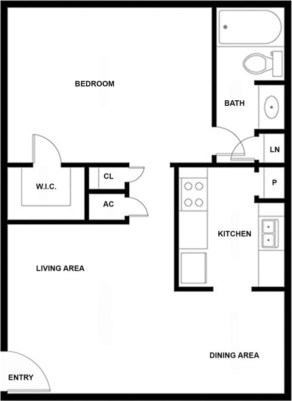 556 sq. ft. A floor plan