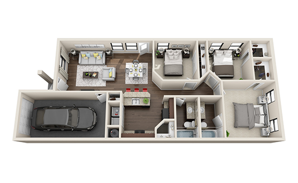 1,097 sq. ft. floor plan
