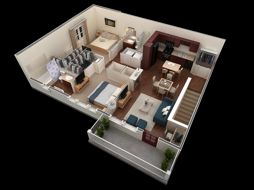 1,121 sq. ft. Lovett floor plan