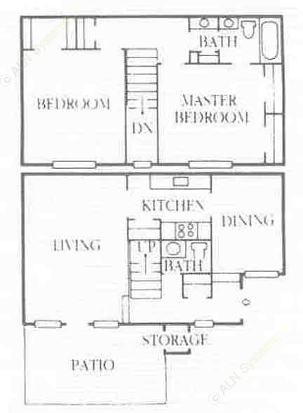 1,184 sq. ft. B5 floor plan