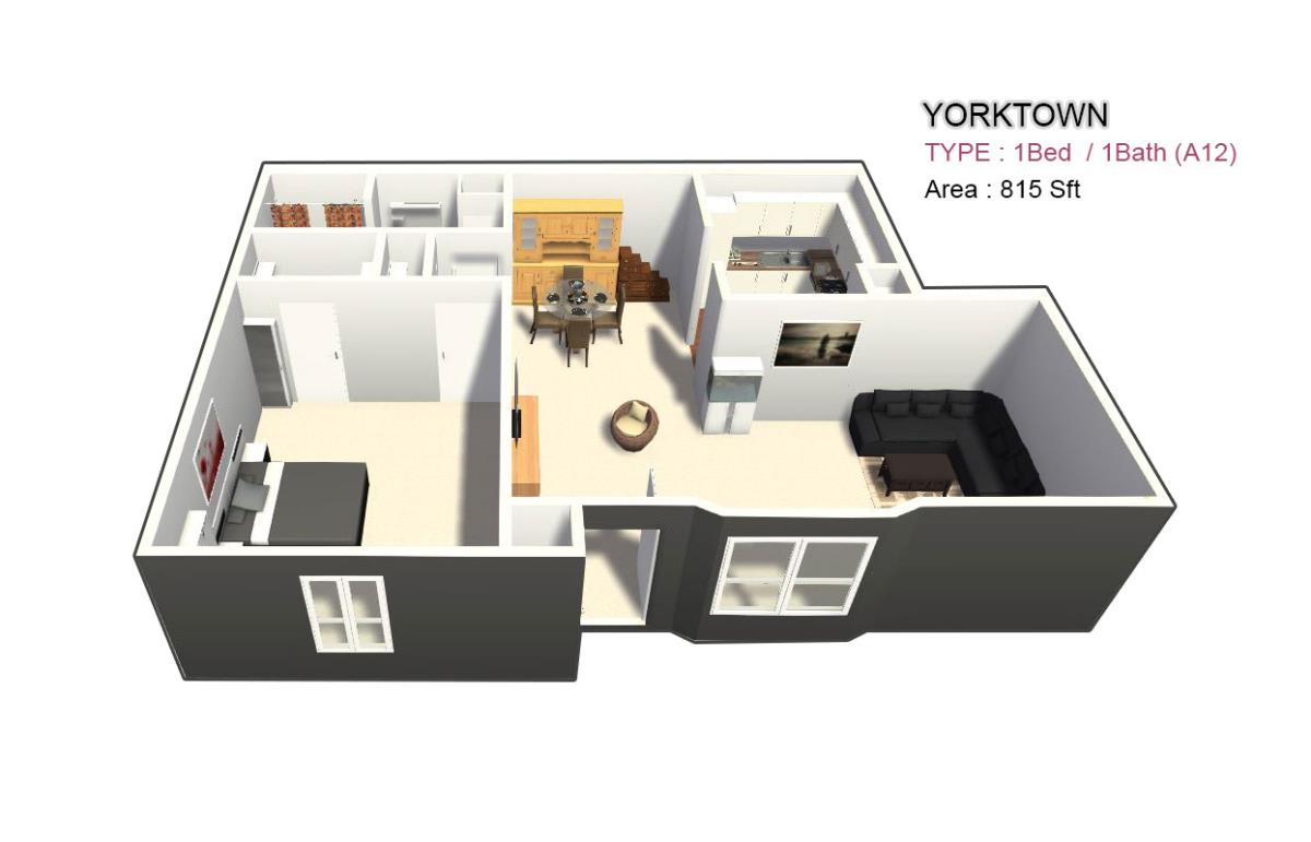 855 sq. ft. 1X1 floor plan