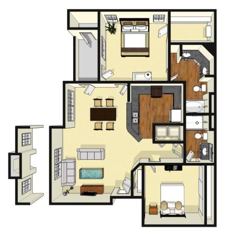 1,106 sq. ft. Ferndale floor plan