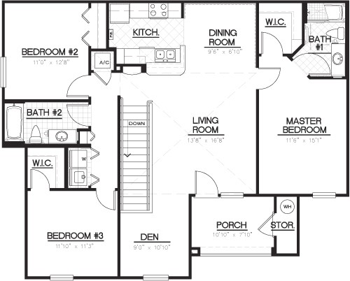 1,421 sq. ft. C1D floor plan