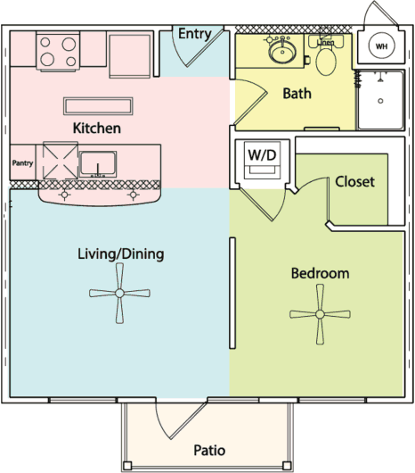 517 sq. ft. E1 floor plan