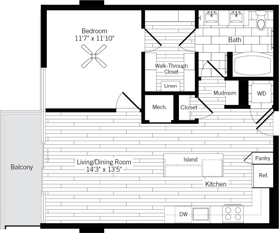 775 sq. ft. 1E-L floor plan