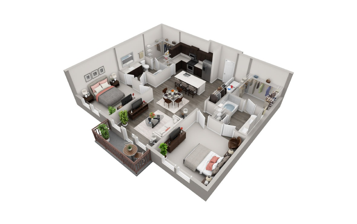 1,184 sq. ft. B3 floor plan