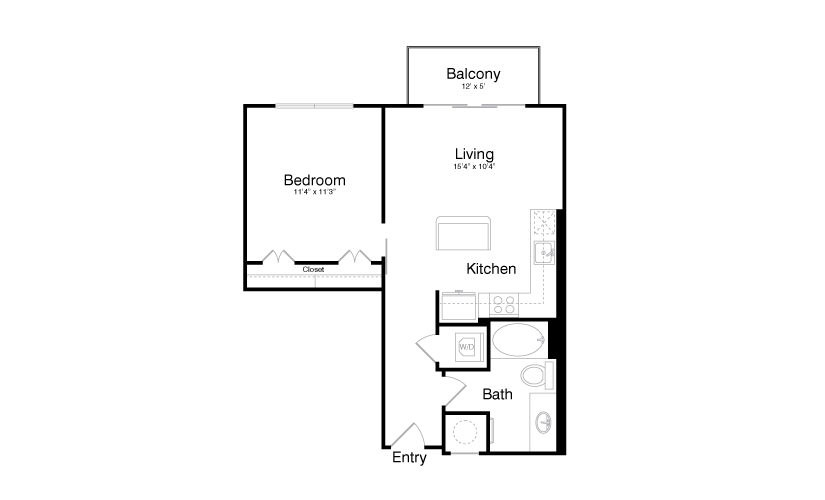 688 sq. ft. A3 floor plan