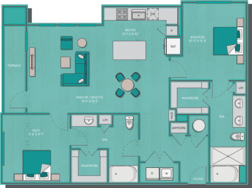 1,270 sq. ft. Sorrento floor plan