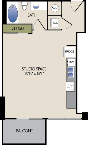573 sq. ft. C2 floor plan