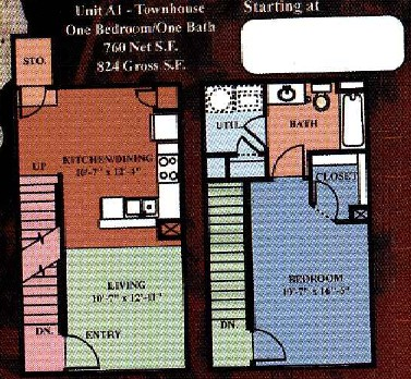 760 sq. ft. A1A 30% floor plan