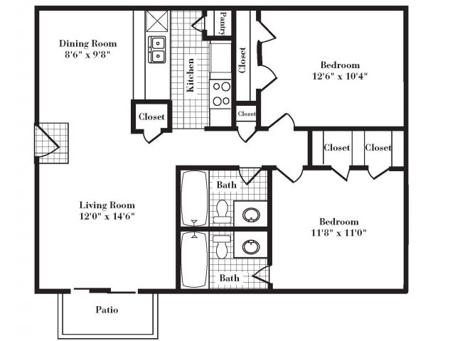 852 sq. ft. B1 III floor plan