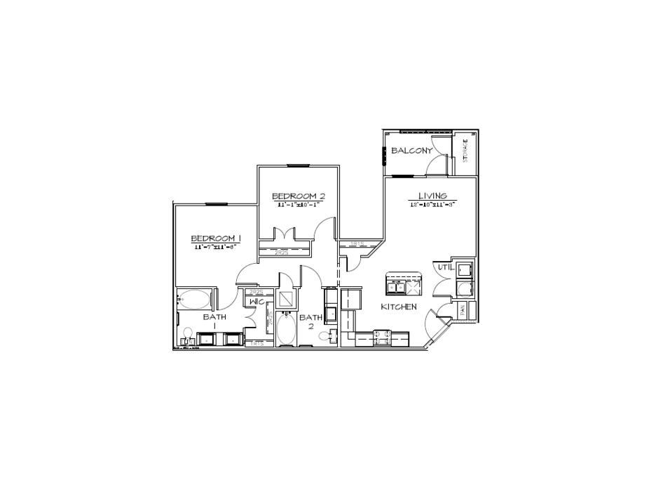 952 sq. ft. B1/60% floor plan