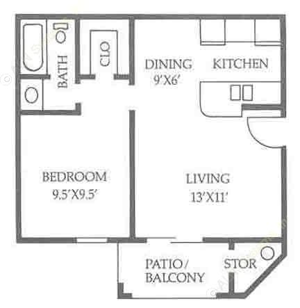 510 sq. ft. A1/50% floor plan
