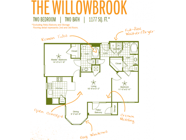 1,177 sq. ft. Willowbrook floor plan