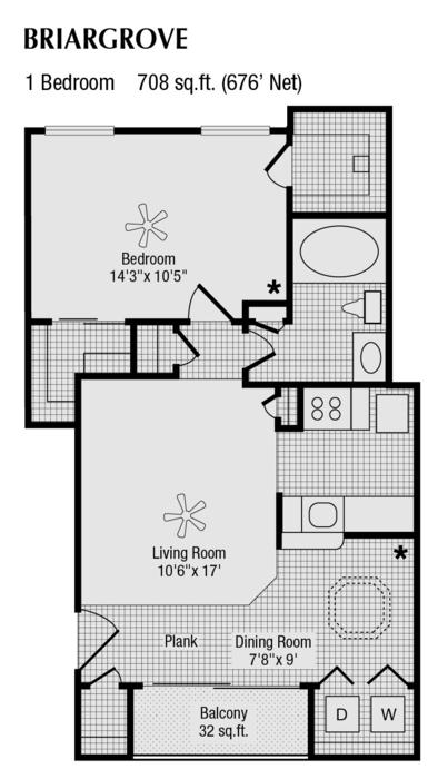 676 sq. ft. to 708 sq. ft. C floor plan