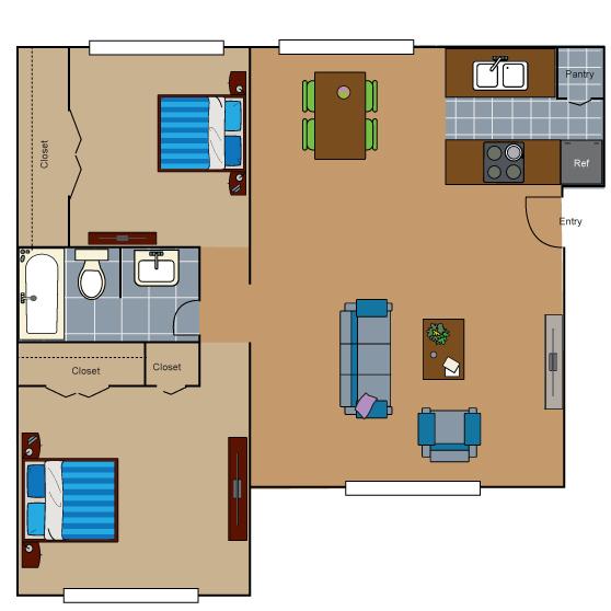 685 sq. ft. AB1 floor plan