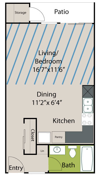 512 sq. ft. A1 Lake floor plan